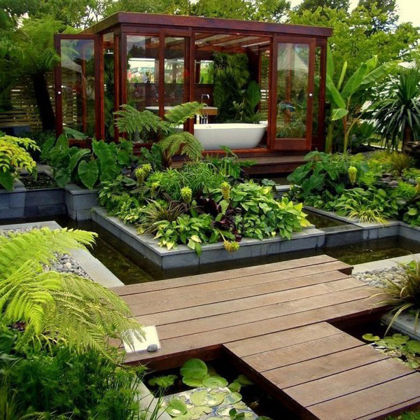 peaceful bathtub in garden