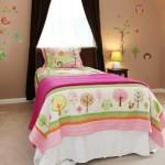 Pink kids room bed