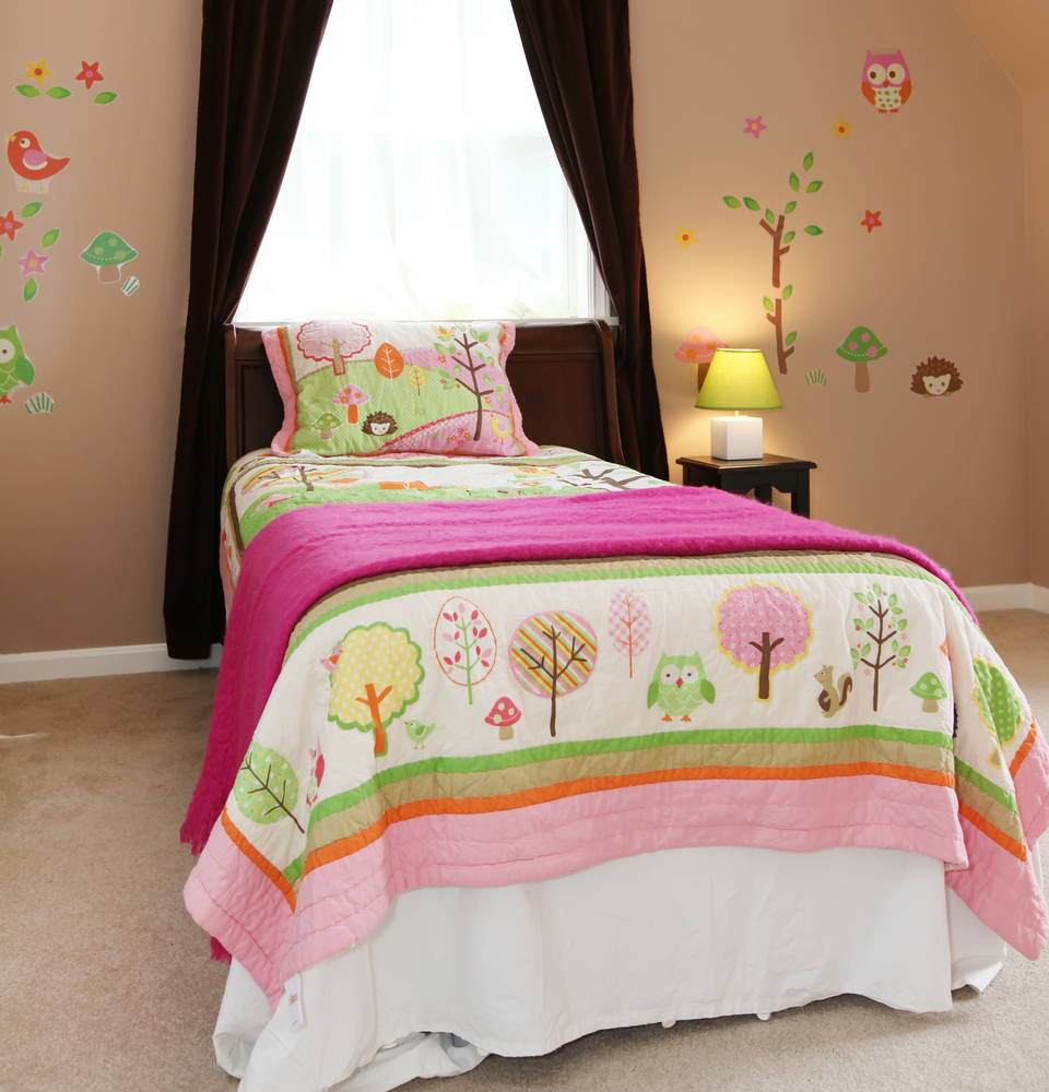 Pink kids room bed