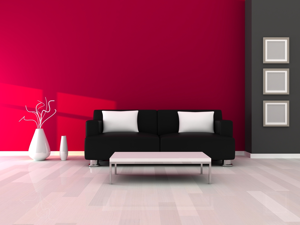 Pink room with black couch