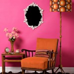 Pink wall design with lamp and chair