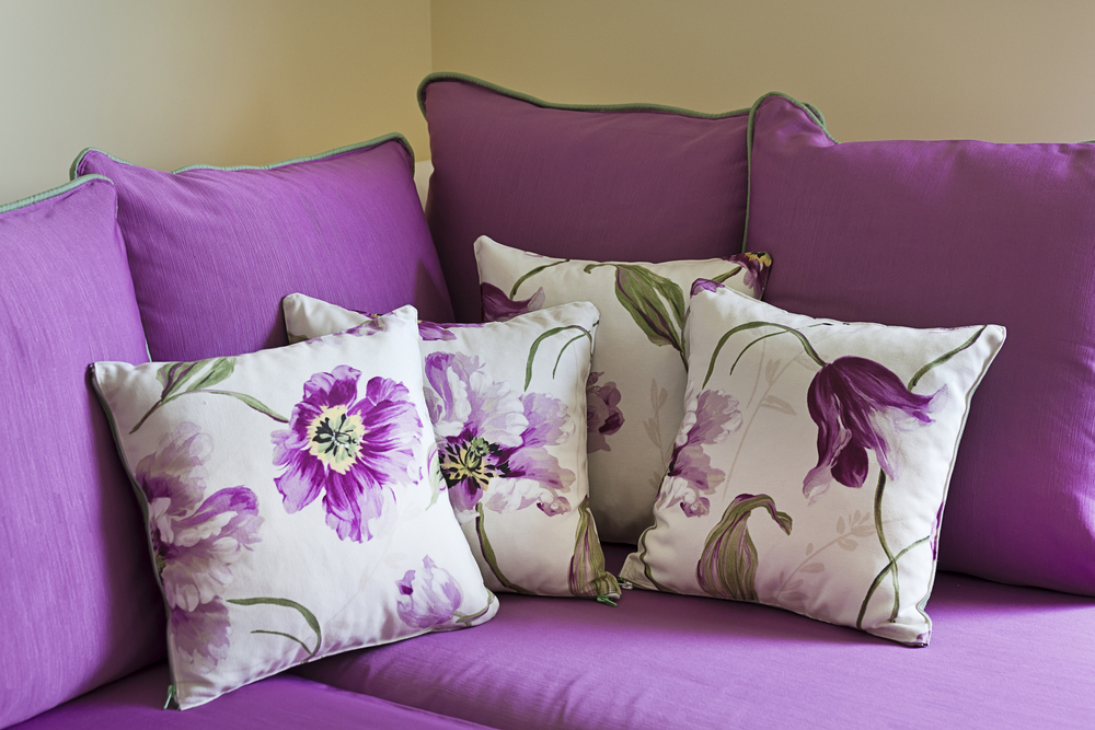Purple sofa couch pillows