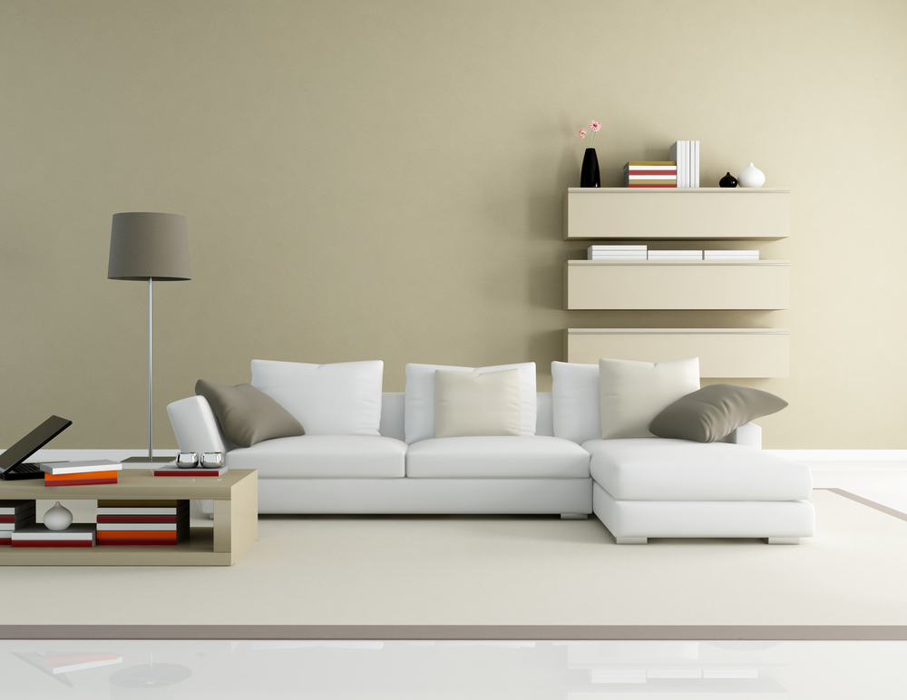 Simple modern living room with white couch interior for Simple modern living room