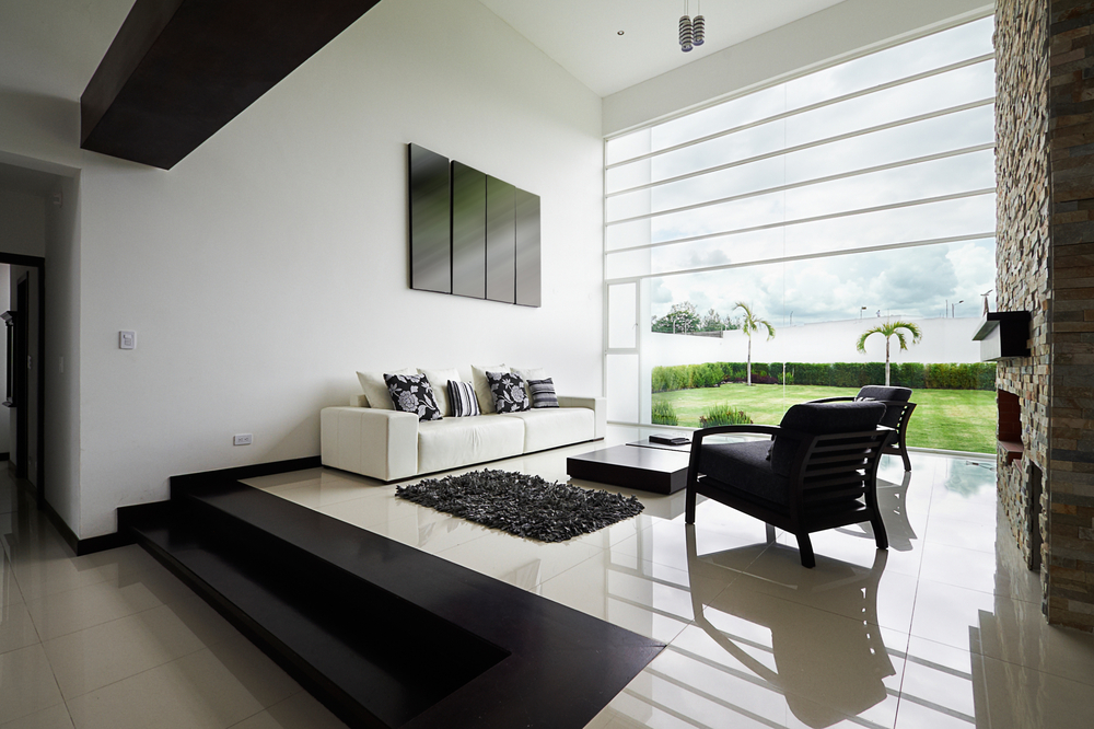 Sleek black and white living room ideas interior design for Sleek living room