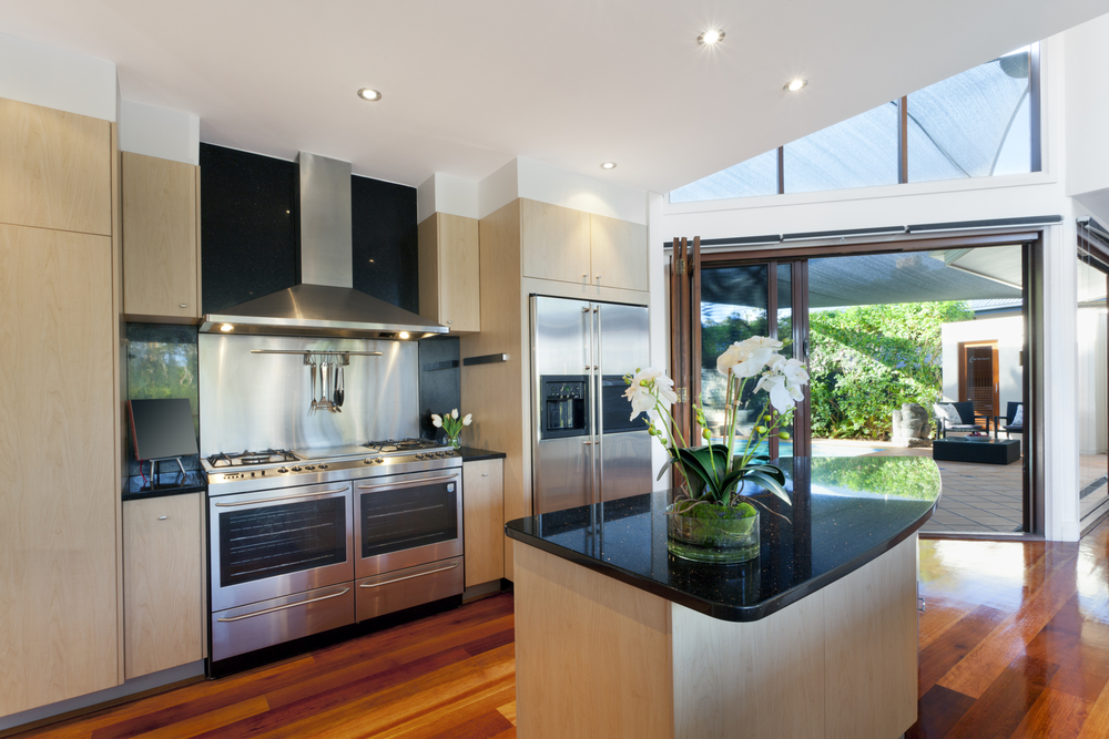 Spacious kitchen design with view