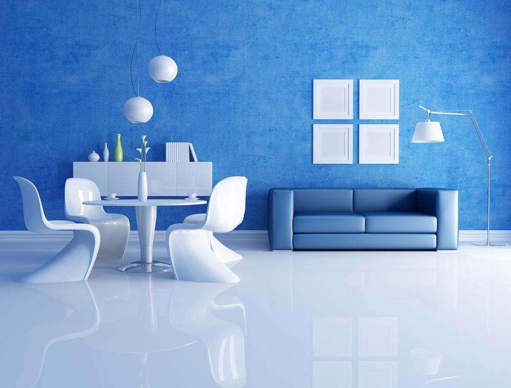 Unique blue futuristic dining room