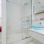 Amazing glass bathroom with sink