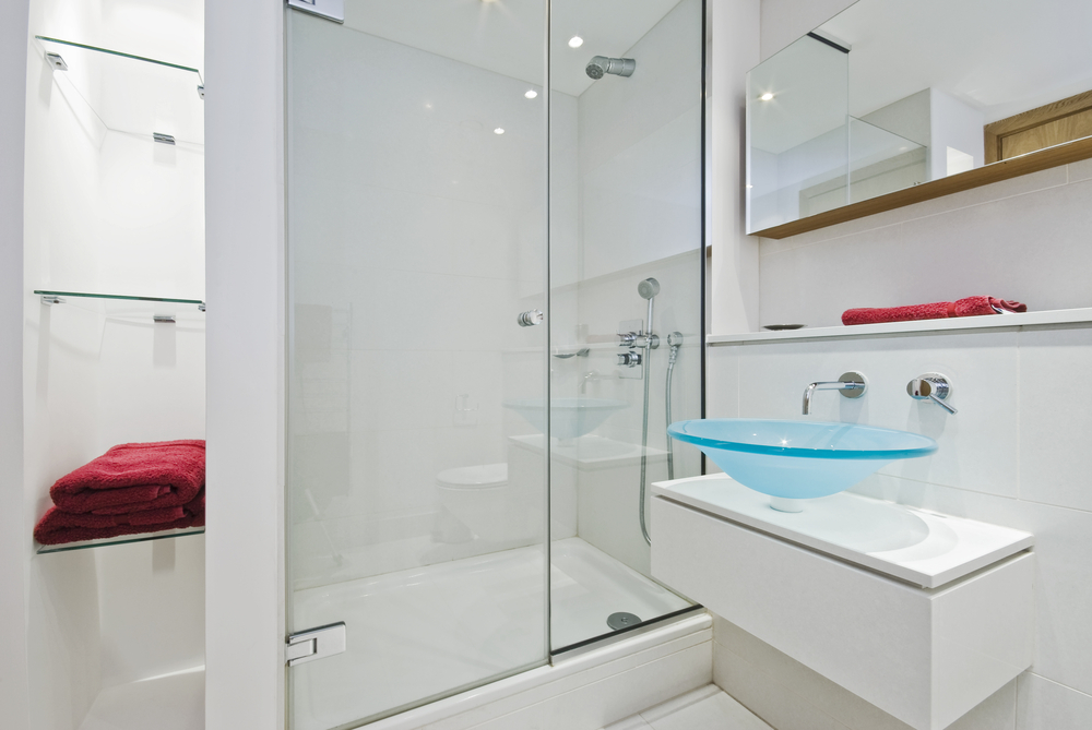 Amazing glass bathroom with sink