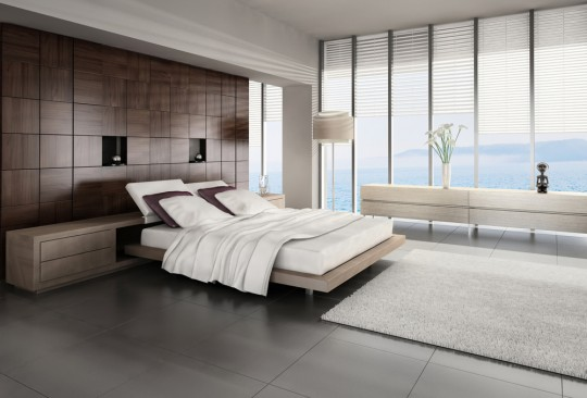 modern bedroom with view