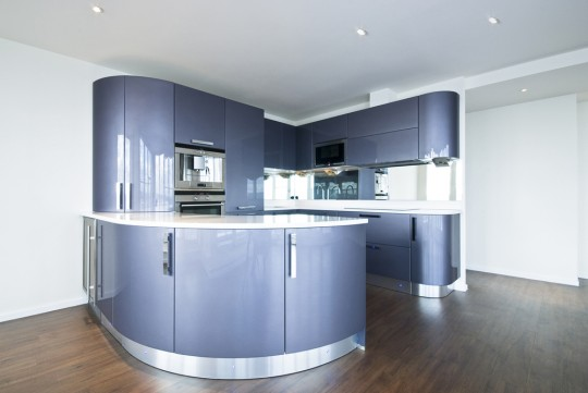 Modern futuristic purple kitchen