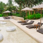 peaceful garden with sand tikis