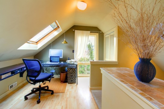 small attic space with blue chairs
