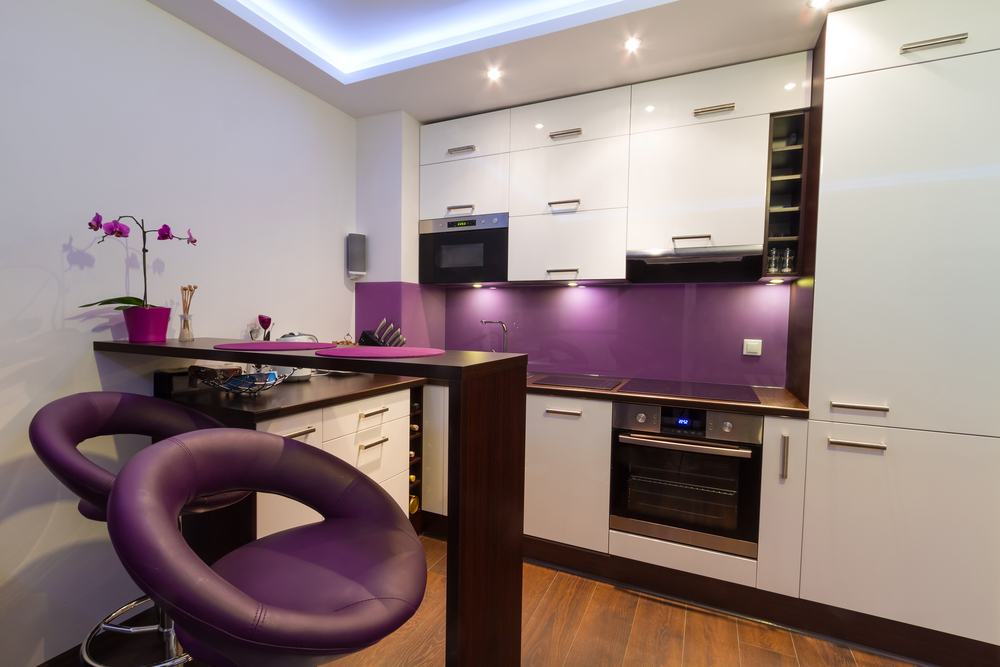 small kitchen with purple accents  Interior Design Ideas