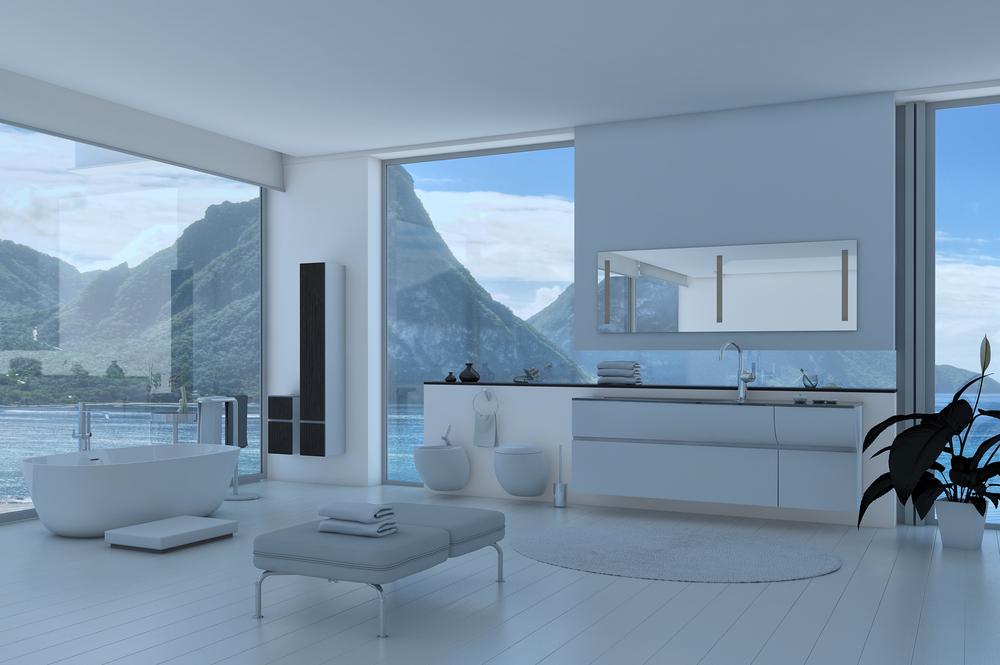 White living room in the mountains
