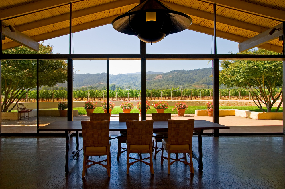 California dining room with mountain view