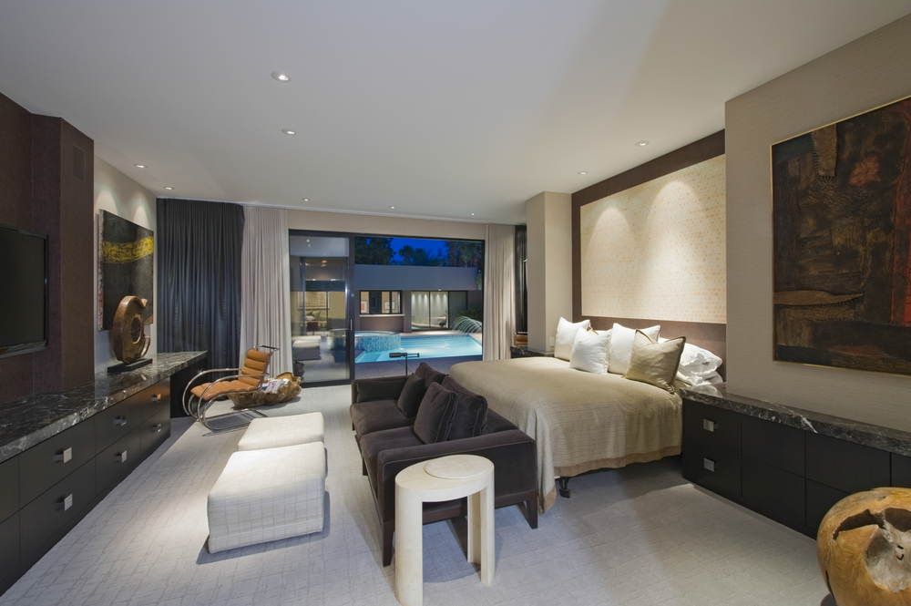 California dream home bedroom with pool view