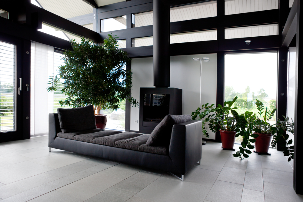 Fireplace in black living room