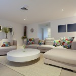 Trendy white large sofa