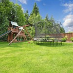 backyard play area with gym