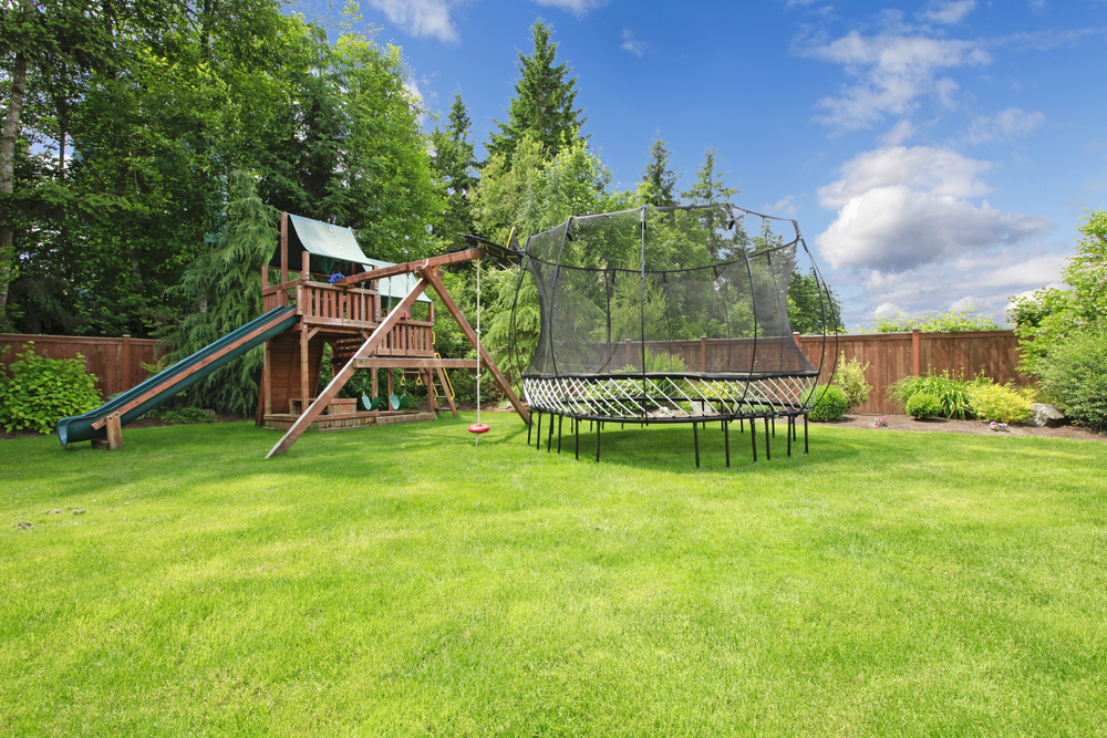 Backyard play area with gym