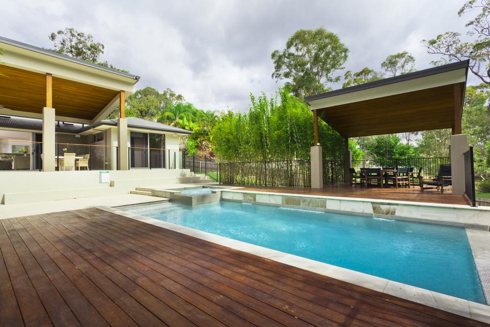 Backyard pool with cabana