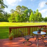 Peaceful backyard on deck