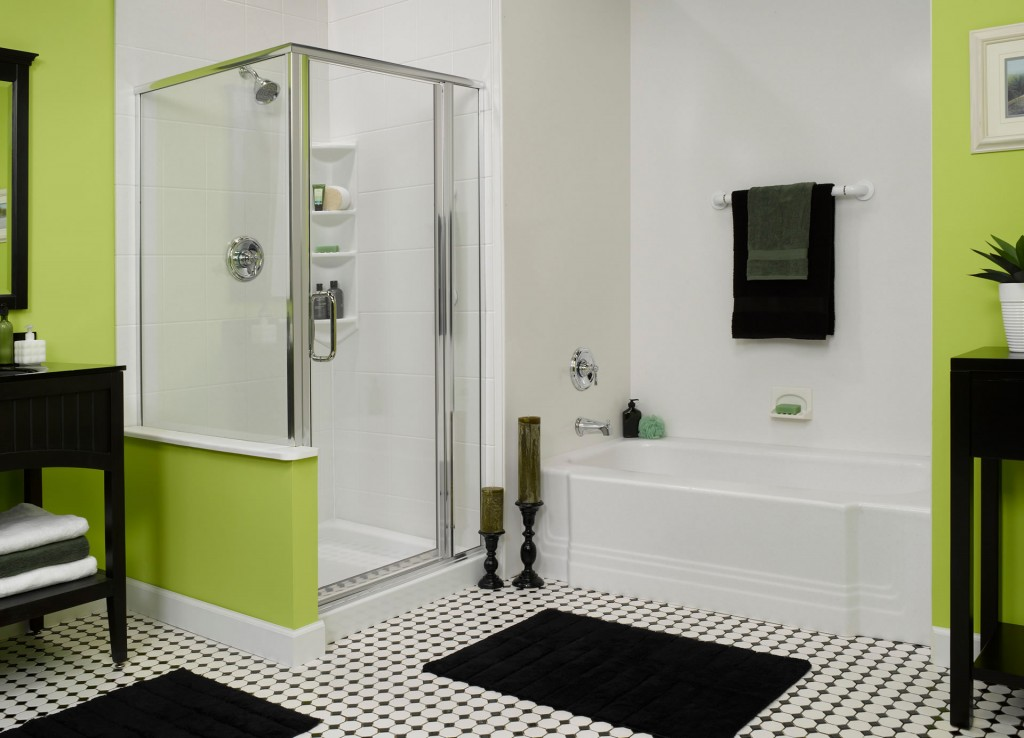 Black, white, and green bathroom design