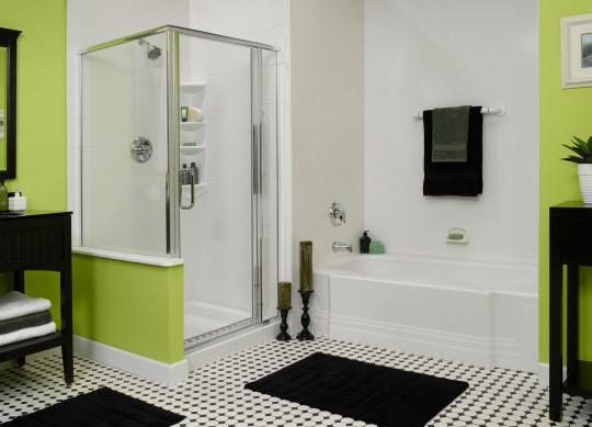Black, white, and green bathroom design
