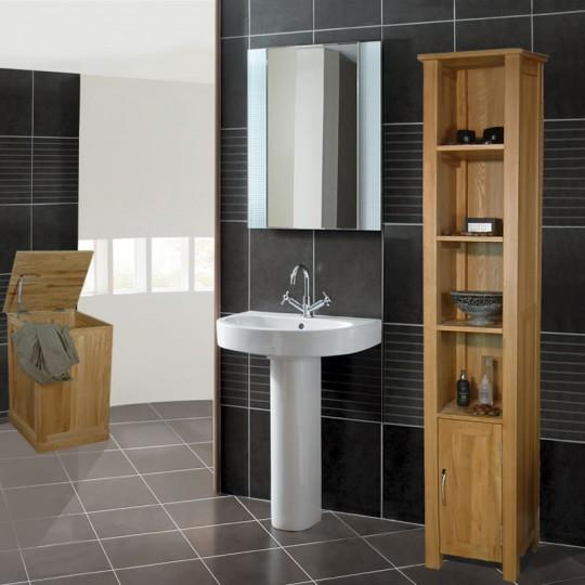 Wood furniture in bathroom