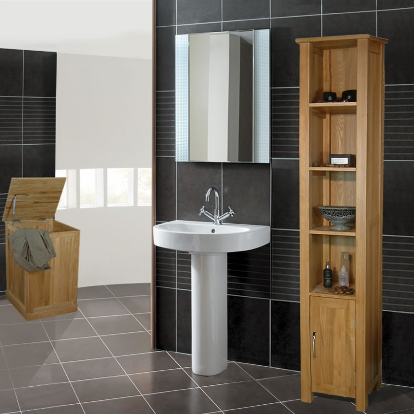 Wood furniture in bathroom