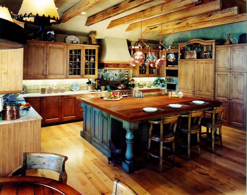 Hardwood rustic kitchen