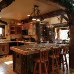 Hunting lodge style rustic wood kitchen