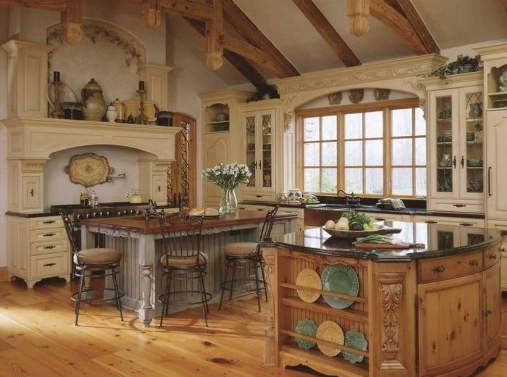 Rustic Tuscan kitchen with island