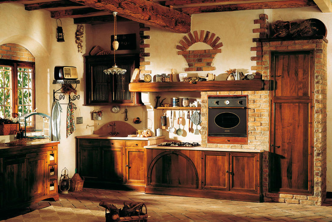 Brick walls are a convenient way to add a dash of rustic design to your kitchen.