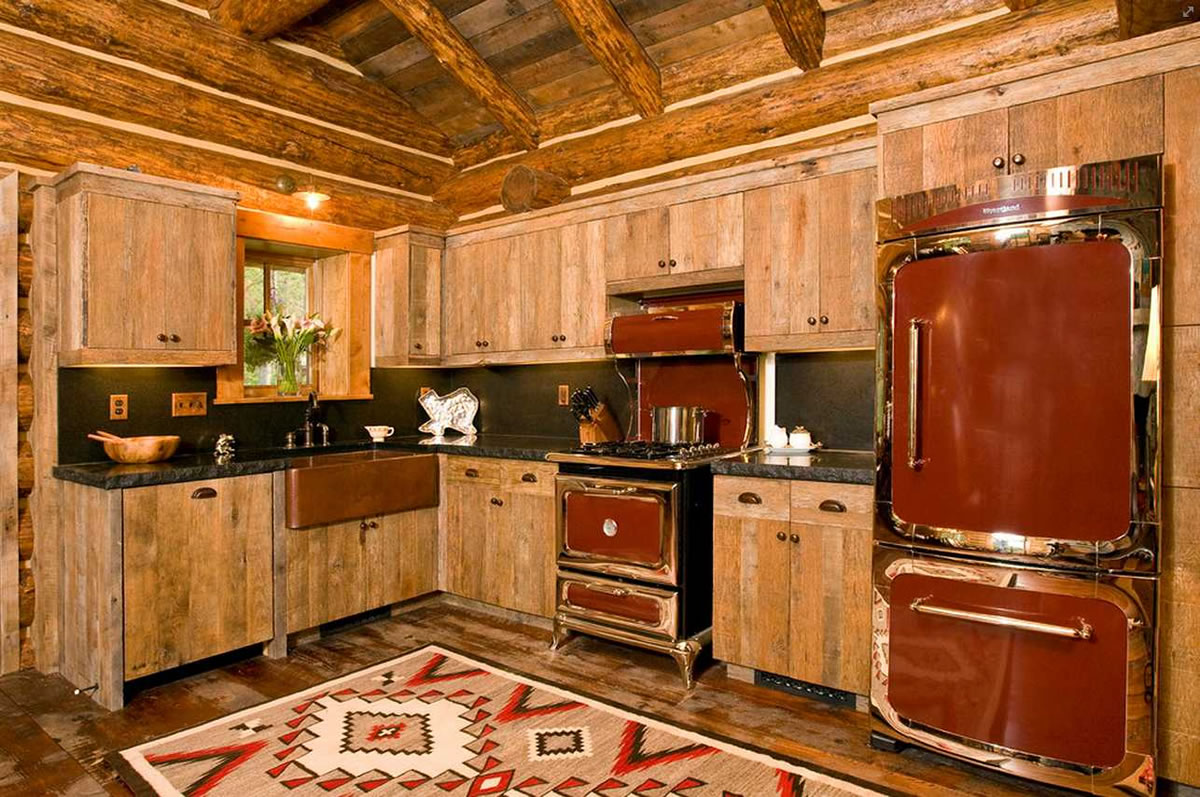 Vintage kitchen appliances look amazing in rustic designs.